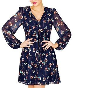 BETSEY JOHNSON TIE NECK FLORAL DRESS